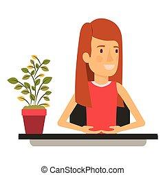 corps, redhair, femme, silhouette, couleur, aide, directement, moitié, long, closeup, bureau