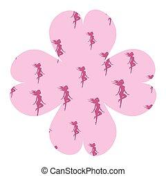 corps, rose, femme, silhouette, forme, fleur