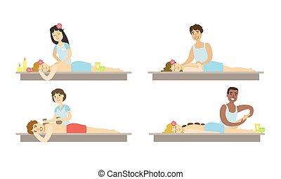 corps, salon, femme relâche, gens, ensemble, prendre, illustration, vecteur, traitement, spa, masage, homme