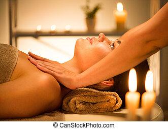 corps, salon, femme, spa., beauté, délassant, brunette, spa, apprécier, masage
