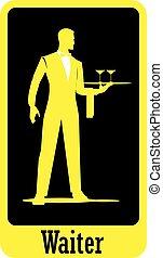 corps, serveur, entiers, silhouette, debout, plateau., waiter., tient