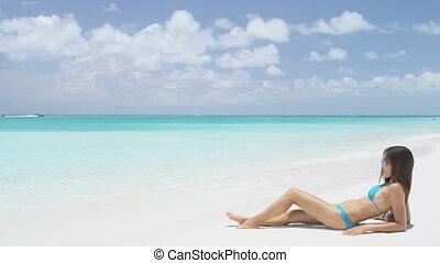 corps, sexy, vacances, plage, soleil baigne, femme