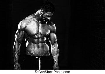 corps, sien, projection, puits, entraîné, chaînes, homme