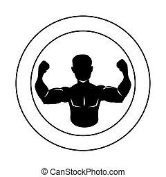 corps, silhouette, circulaire, moitié, muscle, frontière, homme