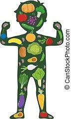 corps, silhouette, végétariens, fruits, fort, gosse