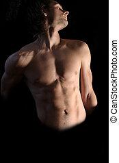 corps, supérieur, musculaire, homme