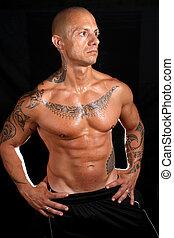corps, tatouages, constructeur