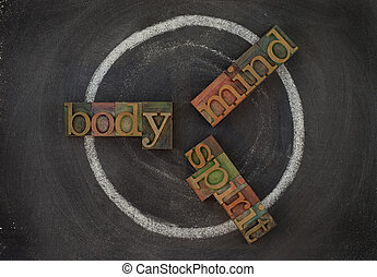 corps, wellness, -, âme, esprit, cycle