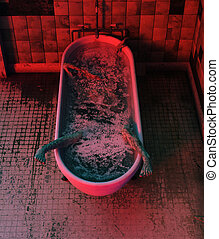Corpse in bathtub, Horror concept 3d illustration