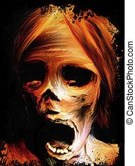 Corpse Painting - screaming mummified corpse face digital...