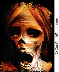 Corpse Painting - screaming mummified corpse face digital...