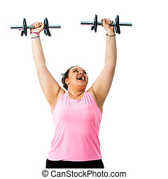 Corpulent lady doing weight workout.