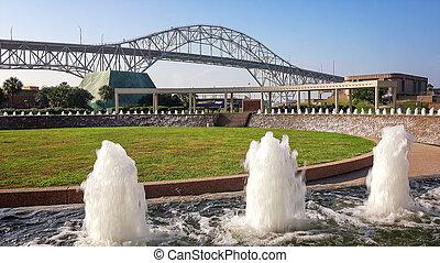 Corpus Christi Harbor Bridge and Water Fountains at Bayfront...