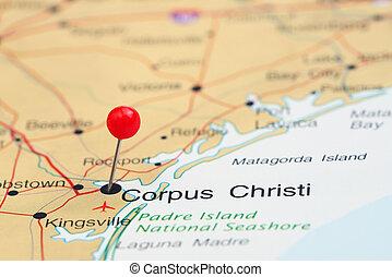 Corpus Christi pinned on a USA map - Photo of pinned Corpus...