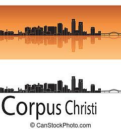 Corpus Christi skyline in orange background in editable...