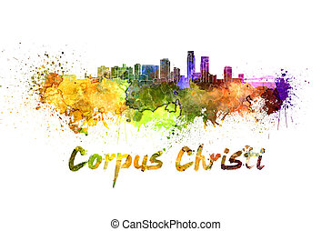 Corpus Christi skyline in watercolor splatters with clipping...