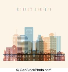 Corpus Christi  state Texas, skyline detailed silhouette.