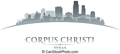 Corpus Christi Texas city silhouette white background -...