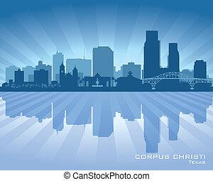 Corpus Christi Texas city skyline vector silhouette...