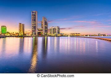 Corpus Christi, Texas, USA skyline on the bay in the...