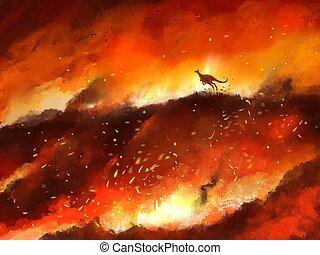 corra, canguro, incendio descontrolado, lejos, ilustración