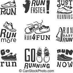 corra, deporte, motivación, vector
