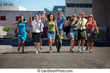 corra, empresa / negocio, trabajadores, joven, abajo, steet.