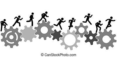 corra, gente, industria, carrera, engranajes, símbolo