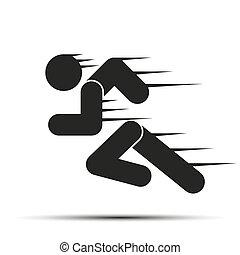 corra, gente, simple, símbolo, motion., aislado, fondo.,...