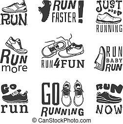 corra, motivación, vector, deporte