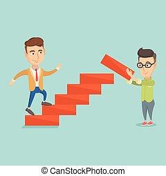 corre, carrera del negocio, arriba, ladder., hombre