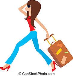corre, mujer, joven, maleta