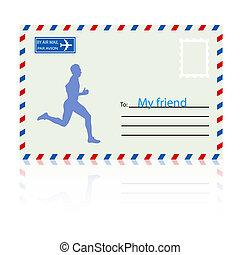 corre, siluetas, illustration., atleta, envelope., vector, correo