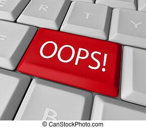 corrección, computadora, oops, llave, teclado, error