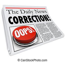 corrección, periódico, error, error, divulgación, aprieto,...