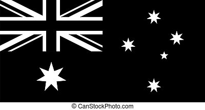 correct accurate black and white flag of australia Australian Flag flat vector