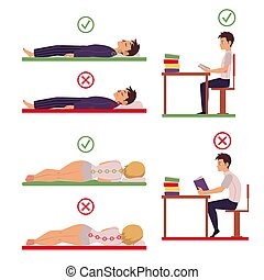 Correct and incorrect back and neck posture for sleeping and...