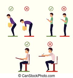 Correct and incorrect back posture infographics