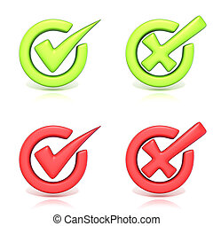 Correct and incorrect check marks in circle. 3D