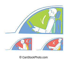Correct and incorrect position in the car - Correct and...