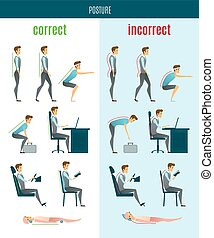 Correct And Incorrect Posture Flat Icons - Correct and...