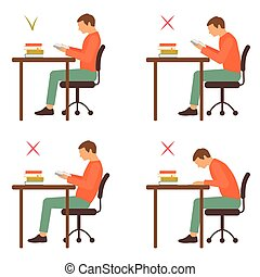 correct and incorrect sitting position, reading