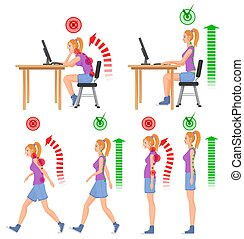 Correct and uncorrect bad sitting and walking position. Walking woman. Sitting woman. Back pain feeling and spinal injuries.