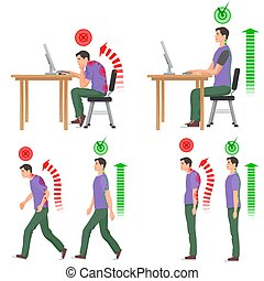 Correct and uncorrect man bad sitting walking position. Back pain feeling spinal injuries.