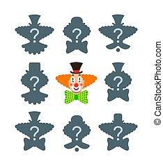 correct, clown, spel, schaduw, raadsel, lucifer