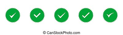 Correct, green icon sign. Vector illustration isolated on white background.Icon set