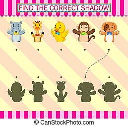 correct, marionnette, trouver, différent, doigts, shadow.