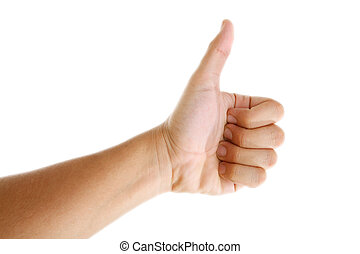 Correct - Ok hand sign over white background. Isolated image