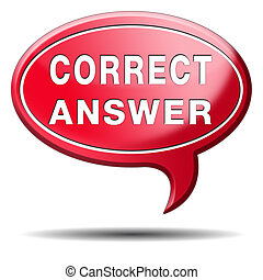 correct or right answer - correct answer right choice