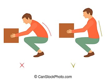 correct back position, vector illustration right person posture